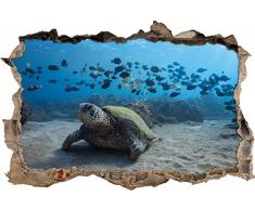 Pixxprint 3D_WD_2374_62x42 Schildkröte im Ozean Wanddurchbruch 3D Wandtattoo, Vinyl, bunt, 62 x 42 x 0,02 cm