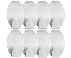 mumbi Handtuchhalter selbstklebend Handtuchhaken ohne Bohren Klebehaken oval Edelstahl 8 Stück