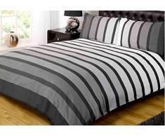 Soho Schwarz Streifen Bettdecke Set, Schwarz, King Size (230x220cm)
