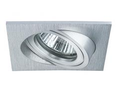 Paulmann 92621 Einbauleuchte Premium Line Einbaustrahler Alu gebürstet schwenkbar Einbaulampe eckig max. 1x40W GU10 Einbaulicht 230V Deckenspot Halogenstrahler, Aluminium, Silber