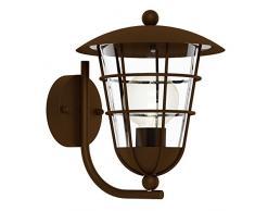 EGLO Außen-Wandlampe Pulfero, 1 flammige Außenleuchte, Wandleuchte aus verzinktem Stahl und Kunststoff, Farbe: Braun, Fassung: E27, IP44