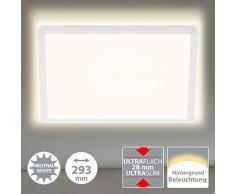 Briloner Leuchten LED Panel, Deckenleuchte, Deckenlampe, inkl. Hintergrundbeleuchtungseffekt, 18 Watt, 2.400 Lumen, 4.000 Kelvin, Weiß, Quadratisch, 29,3 x 29,3cm, W, 3x29,3 cm