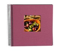 Goldbuch Spiralalbum, Bella Vista, Mit Fensterausschnitt für eigenes Bild, 20 x 20 cm, 40 schwarze Seiten, Leinen, Fuchsia, 12708