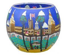 Himmlische Düfte Geschenkartikel CC257 Tischdekoration, London Windlicht Glas 11 x 11 x 9 cm, bunt
