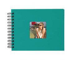 Goldbuch Spiralalbum mit Bildausschnitt, Living, 24x17 cm, 50 schwarze Seiten, Hochwertiger Einband aus Strukturpapier in Leinenoptik, Türkis, 20 199