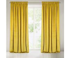 Eurofirany Samt Vorhänge Velvet Senf Gelb Kräuselband Edel Gardine Elegant Glatt Einfarbig Weich Wohnzimmer Schlafzimmer Lounge, Polyester, 140X270 cm