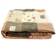 1001 Wohntraum 13D19 Quilt Jenny 230 x 250 cm Blumen Ranken Plaid, Patchwork Vintage Decke
