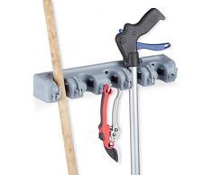 Relaxdays Gerätehalter Wandhalterung, 5 Klemmhalter, 6 Klapphaken, Universal Werkzeughalter für Wand, 40 cm, PP, grau, H x B x T: ca. 6 x 40 x 11 cm
