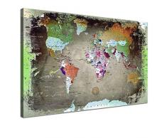 LANA KK - Leinwandbild Weltkarte Bunt Dark Weltkarte - deutsch - Kunstdruck-Pinnwand auf Echtholz-Keilrahmen – Globus in bunt, einteilig & fertig gerahmt in 120 x 80 cm