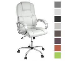 TPFLiving bequemer Premium XXL Bürostuhl Chefsessel Schreibtischstuhl DENVER weiß belastbar bis 210 kg hochwertig Kunstleder Wippfunktion stabile Castor Rollen in 8 Farben wählbar