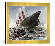 Gerahmtes Bild von Willy StöwerDer Untergang der Titanic, Kunstdruck im hochwertigen handgefertigten Bilder-Rahmen, 40x30 cm, Gold raya