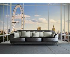 1Wall W4P-LONDON-017 Londer Skyline durch EIN Fenster Wall Mural/Fototapete