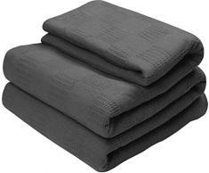 Utopia Bedding - Baumwolle Decke - 100% Premium-gewebte Baumwolle - Atmungsaktive Decke und Quilt für Bett & Couch / Sofa (Twin, Rauchgrau)