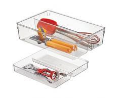 InterDesign 03110EU Linus 2-teilige Schubladenkasten für Küchenutensilien und Zubehör, Plastik, durchsichtig, 30,5 x 20,3 x 8,2 cm