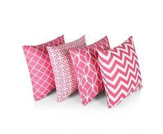 Penguin Home 3426 4 Stück abgestimmte Design-Kissenbezüge aus 100% Baumwolle, luxuriös, stilvolle Hüllen für Wohnzimmer, Sofa, Schlafzimmer mit unsichtbarem Reißverschluss, 45 x 45 cm, Rosa, Pink