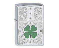 Zippo 250 Dazzling Clovers Feuerzeug, Messing, High Polish Chrome, One Size