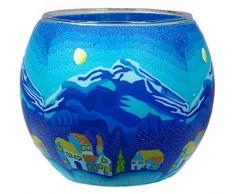 Himmlische Düfte Geschenkartikel GmbH Mountains Winternight Windlicht, Glas, bunt, 11x11x9 cm