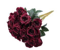 Greentime Fake Blumen 40,6 cm Künstliche Seide Rose Bouquet 12 Köpfe Vintage Rose für Hochzeit, Haus, Party, Valentinstag, Urlaub Dekoration Weinrot