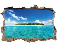 Pixxprint 3D_WD_1407_92x62 Einsame Insel im blauen Meer Wanddurchbruch 3D Wandtattoo, Vinyl, bunt, 92 x 62 x 0,02 cm