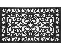 oKu-Tex Fußmatte Türvorleger Fußabtreter Gummi Gusseisen Optik Ornamente Relief für außen 45 x 75 cm schwarz