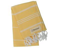 Bersuse 100% Baumwolle - Anatolia Türkisches Handtuch Geschirrtuch - 60 x 110 cm, Gelb