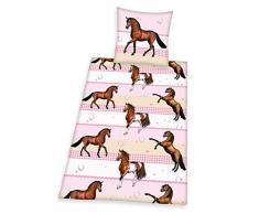 Herding 465736050 Bettwäsche Young Collection Pferd, Kopfkissenbezug 80 x 80 cm und Bettbezug 135 x 200 cm, 100 % Baumwolle, Flanell