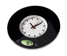 Xavax digitale Küchenwaage Pauline mit Uhr als Wiegefläche, geeignet zur Wandbefestigung, schwarz