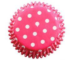 PME Backförmchen für Cupcakes aus Papier mit rosanen Tupfen, Standardgröße, 60er Pack, Kunststoff, Pink, 7 x 7 x 2.8 cm, 60-Einheiten