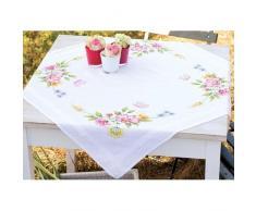 Vervaco Tischdecke Frühlingsblumen bedruckte Decke/Läufer mit Webrand, Baumwolle, Mehrfarbig, 80.0 x 80.0 x 0.30000000000000004 cm, 1 Einheiten