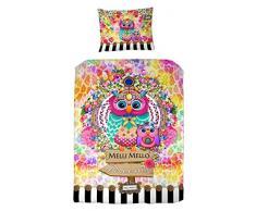 Melli Mello farbigen Kinderbettwäsche Marizza mit Eulen und Blumen, 200 x 135 x 0,5 cm, mehrfarbig