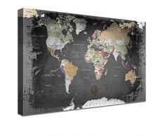 LANA KK Leinwandbild Weltkarte Deutsch Kunstdruck Pinnwand auf 4cm Echtholz, graphit, 200 x 150 cm
