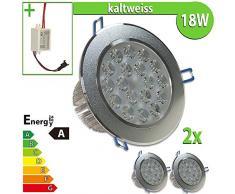 LEDVero 2x LED Einbaustrahler Einbauleuchte 18 W rund, kaltweiss EBL179