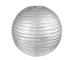 Santex Laterne Metallic Papier, silber, M