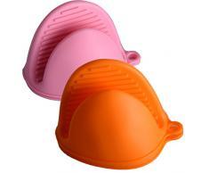 EXQULEG 2 Paar Mini Ofen Topflappen, Silikon Topfhandschuh Grillhandschuh Backhandschuh, hitzeresistent Anti-Scald (Orange&Pink), silikagel 9.5 x 14 x 8 cm 2