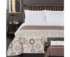 DecoKing Tagesdecke 170 x 270 cm braun orange weiß Bettüberwurf mit abstraktem Muster zweiseitig pflegeleicht Alhambra Schokolade White Brown Chocolate