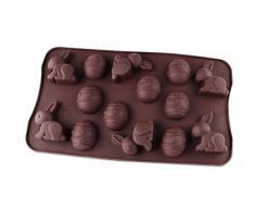 Dr. Oetker Silikon-Schokoladenform Fröhliche Ostern 14er Silikon Schokoladeneier, Schokoladenform Osterhase, Schokohasen für Kuchen, Menge: 1 Stück