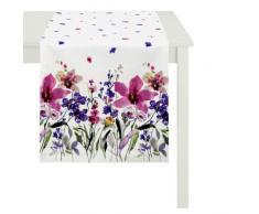 Apeltstoffe 4060_48x140_90 Tischläufer Digitaldruck Blumenwiese circa 48 x 140 cm, violett / weiß