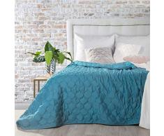 Eurofirany Schöne Tagesdecke Pastellfarben Bettüberwurf Zweiseitig Gesteppt Rosa Cremig Beige Grau Stahl Zweifarbig Einfarbig (MEGI/blau, 200 cm x 220 cm), Polyester