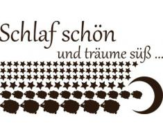 Graz Design 770087_100x57_080 Wandtattoo Set Kinderzimmer Spruch Schlaf schn mit Schfchen Sterne 100x57cm Braun
