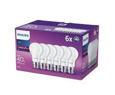 Philips LED 5,5W (40W) A60B22Bajonettsockel Lampen, warmes Weiß, Frosted Leuchtmittel, 6Stück,, B22, 5Watt, Pack von 6