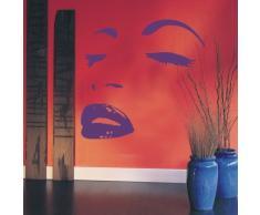 INDIGOS WG30497-70 Wandtattoo w497 Sexy Frau Gesicht Lippen Wandaufkleber 120 x 115cm, schwarz