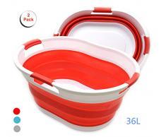 SAMMART 36 l faltbarer Wäschekorb aus Kunststoff mit 3 Griffen, faltbarer Pop-Up-Aufbewahrungsbehälter, tragbarer Wäschekorb, platzsparender Korb, Wasserkapazität 27 l rot