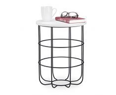 Relaxdays, weiß-schwarz runder Beistelltisch mit Metallkorb, dekorativer Couchtisch, Wohnzimmertisch modern, 45cm hoch, Design B