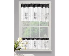 Eurofirany FIR/ANGIE/B+STAL/60 Vorhang, bestickte Küchen Gardine, Polyester, weiß/grau, 60 x 150 cm