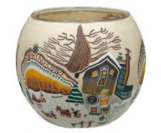 Himmlische Düfte Geschenkartikel CC239 Tischdekoration, Farm in Wintertime Windlicht Glas 11 x 11 x 9 cm, bunt