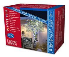 Konstsmide 3612-200 Micro LED Lichterkette / für Außen (IP44) / 24V Außentrafo / 120 kalt weiße Dioden / schwarzes Kabel