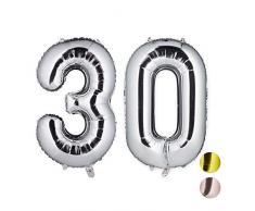 Relaxdays Folienballon Zahl 30, Party Dekoration für 30. Geburtstag, Jubiläum, 85-100 cm, XXL Riesenluftballon, Silber