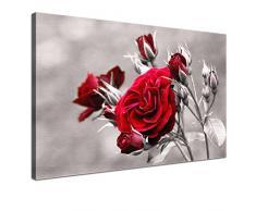LANA KK - Leinwandbild Rose Red mit Blumen auf Echtholz-Keilrahmen – Frühling und Natur Fotoleinwand-Kunstdruck in rot, einteilig & fertig gerahmt in 100x70cm