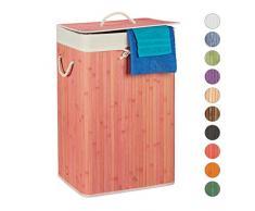 Relaxdays, rosa Wäschekorb Bambus, mit Deckel, rechteckig, XL, 83 L, Faltbarer Wäschesammler, HBT: 65,5 x 43,5 x 33,5 cm