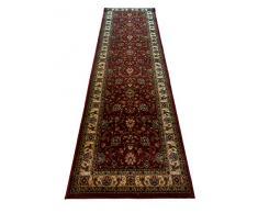oKu-Tex Webteppich Teppichläufer Brücke Galerie Bidjar | Orientmuster, floral | Farbe: Rot | 80 x 240 cm